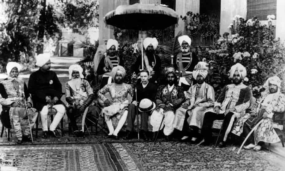 Holding court ... the lieutenant-general of the Punjab takes tea with maharajas and Rajas in 1875.