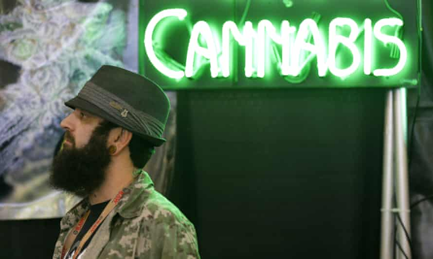 """Adam Dunn, owner of the marijuana seed company T.H. Seeds, stands near a neon """"cannabis"""" sign as he works in a booth for the pot-seed broker SeedsHereNow.com, Thursday, Feb. 19, 2015, at CannaCon, a marijuana business trade show in Seattle featuring exhibitors offering everything from grow lights to mechanical pot plant trimmers"""