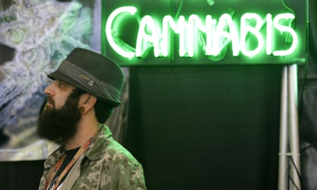 Adam Dunn, owner of the marijuana seed company T.H. Seeds, stands near a neon