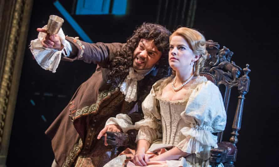 Alice Bailey Johnson (Elizabeth Malet) and Dominic Cooper (The Earl of Rochester) perform at the Haymarket in a revival of Jeffreys' The Libertine, 2016.
