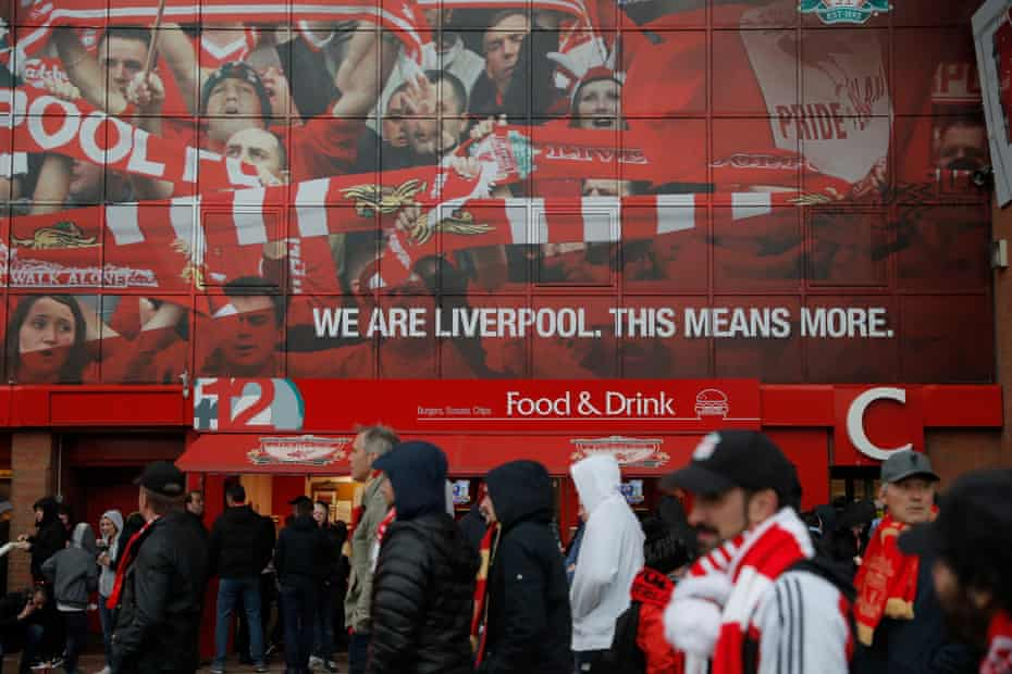 Liverpool fans arrive at Anfield last Friday.