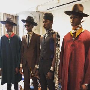 Models backstage at Oswald Boateng