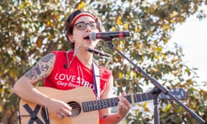 Ryan Cassata performs at the San Francisco trans pride march in 2015