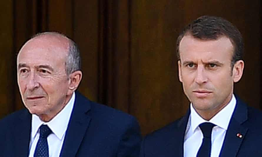 French president Emmanuel Macron (right) and former French interior minister Gérard Collomb