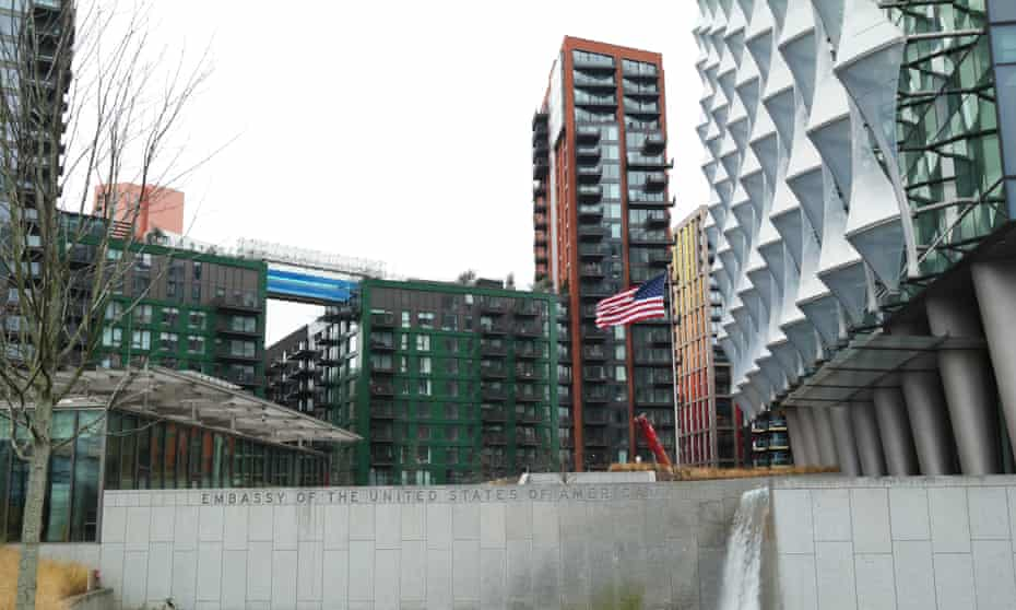 The Sky Pool visible behind the US embassy, Nine Elms, London