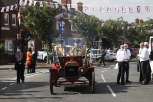 Belfast, Northern Ireland A vintage Ford car waits to lead the Orange order parade in North Belfast