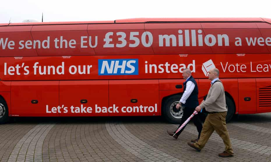 The Vote Leave campaign bus saying the UK sends £350 million a week to Brussels.