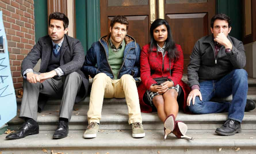 Mindy with Ed Weeks, Adam Pally and Chris Messina in The Mindy Project.