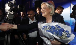 Marine Le Pen celebrates with supporters in Hénin-Beaumont.