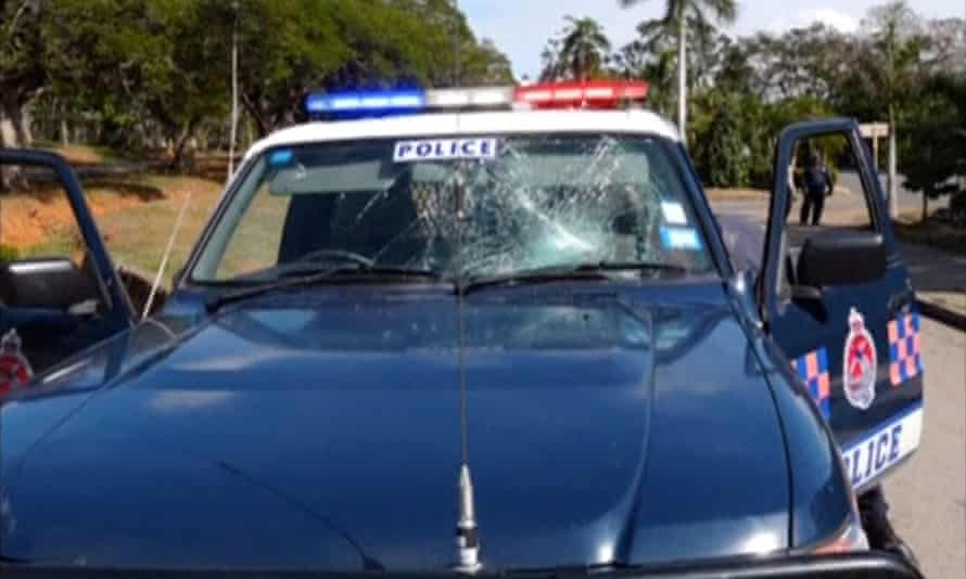 A damaged police vehicle in Port Moresby
