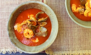 'Cod cheeks are cheap and sustainable, but hold their firm texture': romano pepper and shellfish soup.