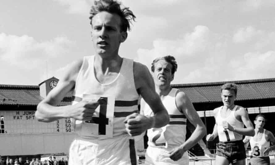 Bruce Tulloh leading the field during an athletics meeting at the White City stadium in London, in the early 1960s.