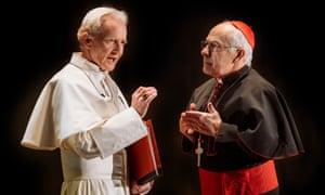 Anton Lesser as Ratzinger and Nicholas Woodeson as Bergoglio.