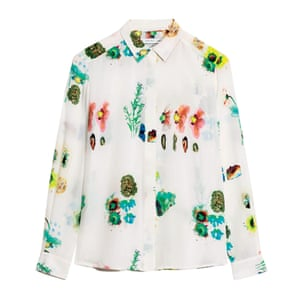 floral print shirt green, yellow, white black, red