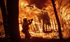 A firefighter battling the Camp fire, which became California's deadliest in history.