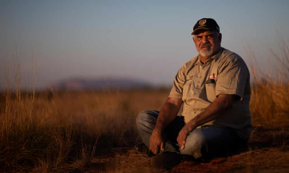 Uluru traditional owner Sammy Wilson on his country at Patji on the evening that the Uluru climb closed