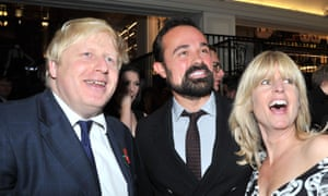 Johnson socialises with Evgeny Lebedev at a party along with his sister Rachel Johnson.