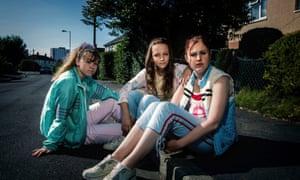 Hill (far left) in the BBC's Three Girls.