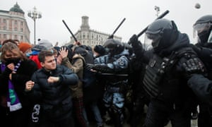 Navalny supporters protest his arrest, in MoscowLaw enforcement officers clash with participants during a rally in support of jailed Russian opposition leader Alexei Navalny in Moscow, Russia January 23, 2021. REUTERS/Maxim Shemetov