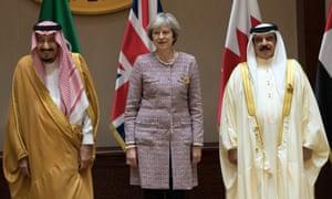 Saudi Arabia's King Salman (left) with Theresa May and the King of Bahrain, Hamad bin Isa Al Khalifa.