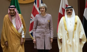 Saudi Arabia's King Salman (left) with Theresa May and the King of Bahrain, Hamad bin Isa Al Khalifa.