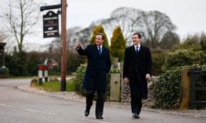David Cameron and George Osborne visit the set of Emmerdale