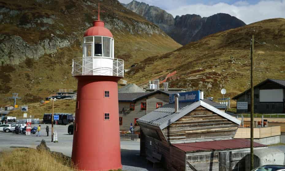 Oberalp pass with Lighthouse replica, Switzerland.
