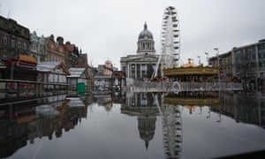 The Christmas market in Nottingham which has been shut temporarily after large crowds gathered at the attraction on Saturday.