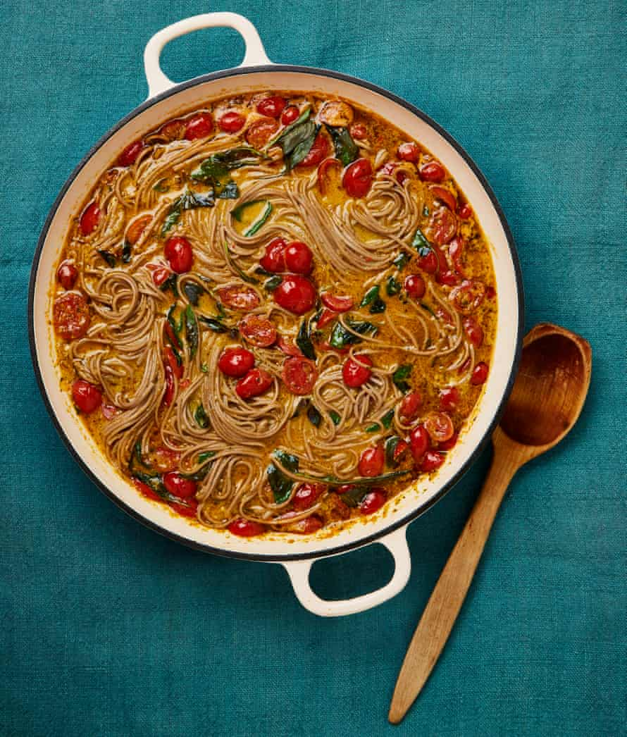 Meera Sodha's one-pot tomato, lemongrass and coconut soba noodles.