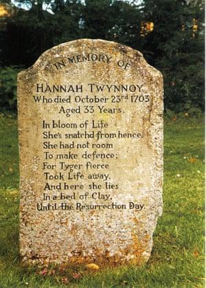 Hannah Twynnoy's tombstone at Malmesbury Abbey