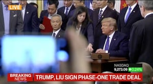 Donald Trump and Liu He signing the Phase One trade deal
