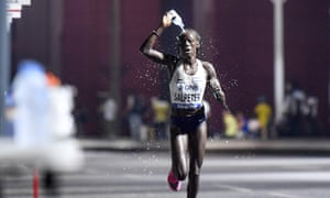 Israel's Lonah Chemtai Salpeter suffers in the women's marathon in Doha.