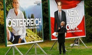 Alexander Van der Bellen delivers a speech during the presentation of his campaign posters in Vienna