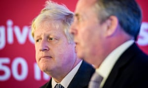 Boris Johnson, who spoke at Armada House in Bristol to outline a positive vision for Brexit, standing next to former Defence Secretary Dr Liam Fox.