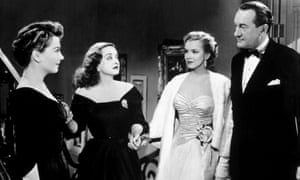 Anne Baxter as Eve, Bette Davis as Margo, Marilyn Monroe as Miss Caswell and George Sanders as DeWitt in All About Eve