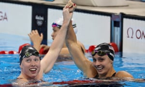 Lilly King  (left) celebrates winning gold with her third-placed compatriot Katie Meili
