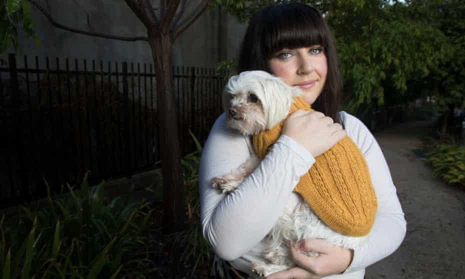 Erin Delaney in the garden of her Rozelle home with her dog Tilly