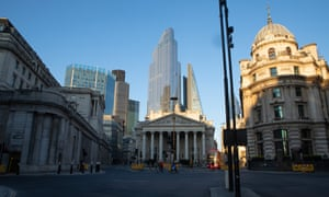 The City of London near Bank Junction and the Bank of England.