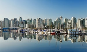 Glass half full … Vancouver skyline at Coal Harbour.
