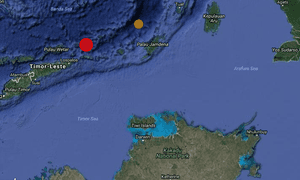 Map showing epicentre (red dot) of earthquake in Indonesia on 21 December 2016 that was felt in Darwin in the Northern Territory, Australia.