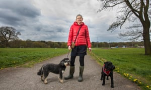 Conservative supporter Ruth Robinson, with her dogs in Berry Hill Park, where mass clashes took place during the miners' strike in 1984.