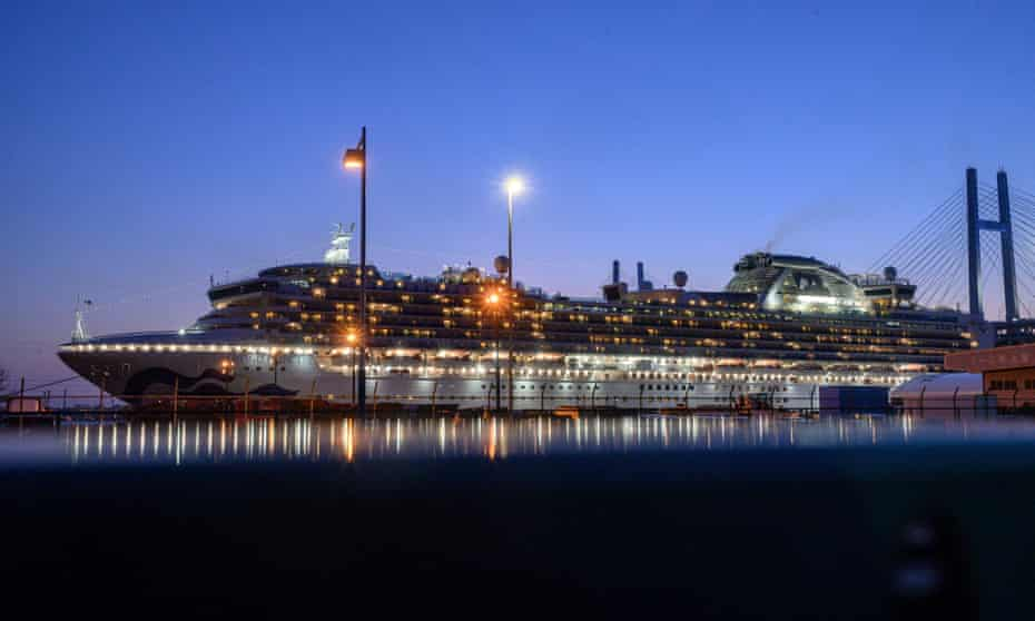 The Diamond Princess cruise ship  in quarantine in the Japanese city Yokohama