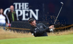 Jimmy Walker chips out of a bunker on the 3rd.