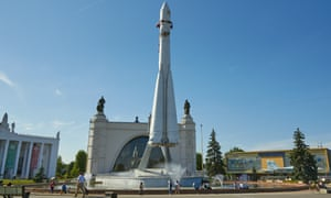 """Transport and mounting unit of the """"Vostok"""" rocket in front of the pavillion Space (it was formerly """"mechanical engineering"""" and """"town planning"""") on VDNKh."""
