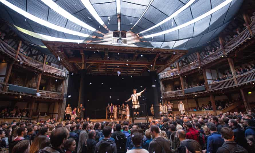 A scene from Titus Andronicus showing a rapt audience in what Shakespeare called the 'wooden O'
