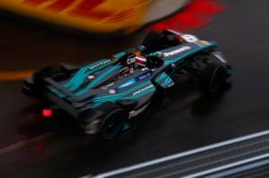 Panasonic Jaguar's Adam Carroll negotiates his Jaguar I-TYPE aroiund the track