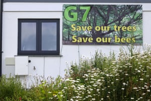 A banner on a building in Carbis Bay