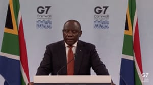 Cyril Ramaphosa giving his press conference after the summt