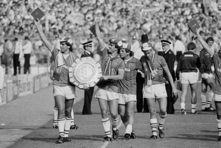 Everton players enjoy the celebrations after winning the Charity Shield in 1984.