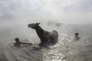 Bitlis, Turkey Villagers wash their horses and water buffaloes in a 40C thermal spring on a freezing day in Budakli village at Guroymak district.